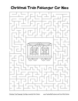 """Christmas Train Passenger Car"" Maze! Holiday FUN! (Color and Black Line)"