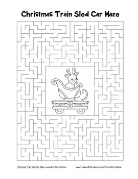 """Christmas Train Sled Car"" Maze! Holiday FUN! (Color and Black Line)"