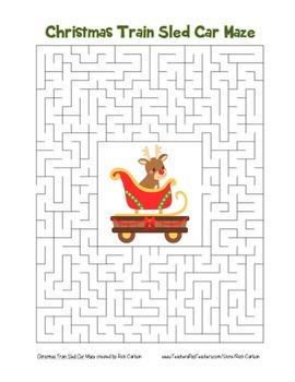 """Christmas Train Sled Car"" Maze! Holiday FUN! (Color and B"