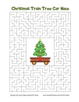 """Christmas Train Tree Car"" Maze! Holiday FUN! (Color and Black Line)"