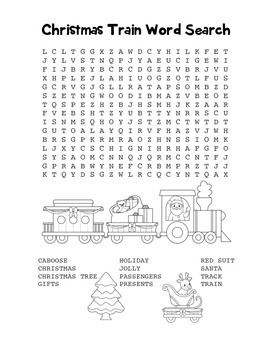 """Christmas Train"" Word Search – Holiday Fun! (Black Line Version)"