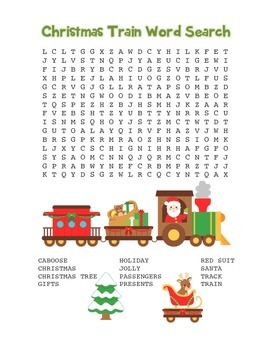 """""""Christmas Train"""" Word Search – Holiday Fun! (Full Color Version)"""