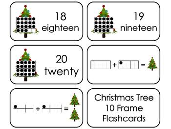 Christmas Tree 10 Frame Printable Flashcards. Preschool- Kindergarten Math.