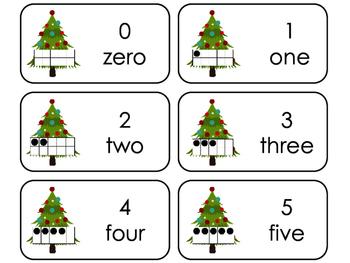 Christmas Tree 10 Frame Printable Flashcards. Preschool- K