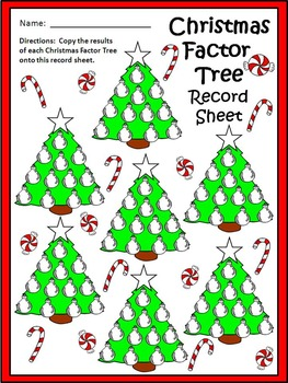 Christmas Tree Activities: Christmas Factor Tree Christmas Math Center Activity