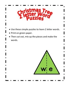 Christmas Tree 2 letter word puzzles