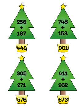 Christmas Tree 3-Digit Addition {With and Without Regrouping}