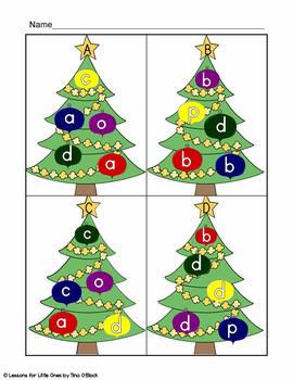 Christmas Tree ABC (alphabet letters, letter sounds, beginning sounds practice)