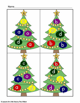 Christmas Tree ABC (alphabet letters, letter sounds, beginning sounds  practice)