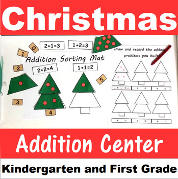 Christmas Tree Addition Center Sums to 20