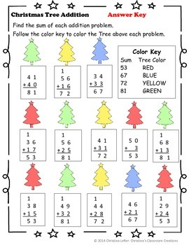Christmas Tree Addition with Regrouping: Color by Number