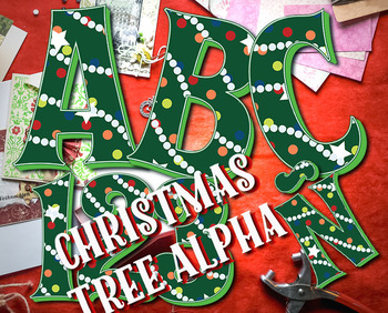 "Christmas Tree Alphabet Clip Art, 98pcs, 4.5"" High, Vector"