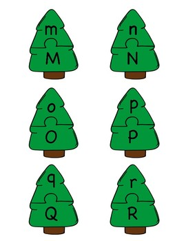 Christmas Tree Alphabet Letter Puzzle Games or Center Activities