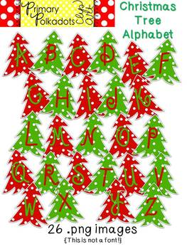 Christmas Tree Alphabet {Primary Polka Dots Clip Art}
