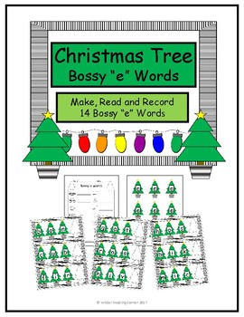 """Christmas Tree Bossy """"e"""" Words- Holiday practice with Magic """"e"""""""