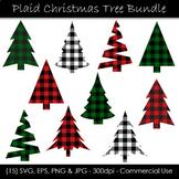 Christmas Tree Buffalo Check Clip Art - Plaid Christmas Trees