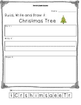 Christmas Tree Build, Write and Draw