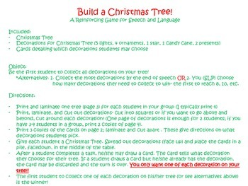 Christmas Tree Builder- Reinforcing Game for Speech & Language!