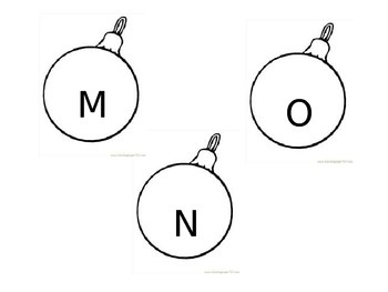 Christmas Tree Bulbs Alphabet Letters Decorations
