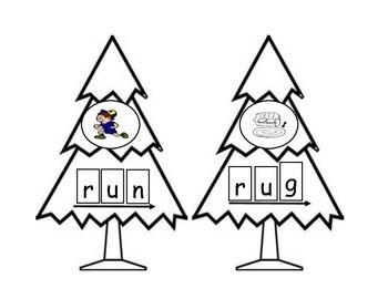 Christmas Tree CVC word puzzles
