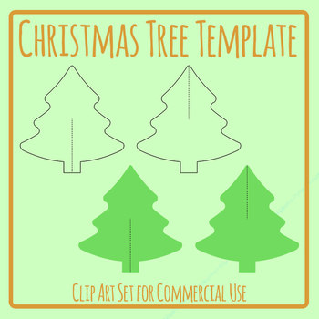 Christmas Tree Cardboard Cut Out Decoration Template Craft Clip Art Set