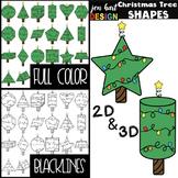 Christmas Tree Clip Art - Math 2D & 3D Shapes {jen hart Clip Art}