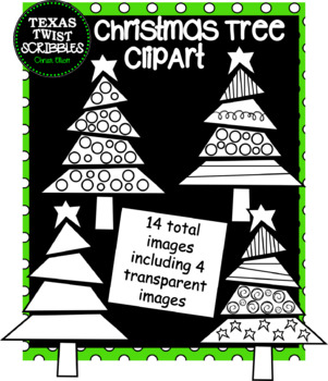 Christmas Tree Clipart {Texas Twist Scribbles}