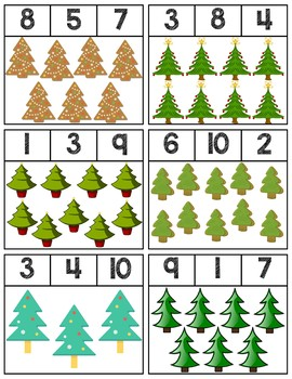 Christmas Tree Clip Cards | Numbers 1-10
