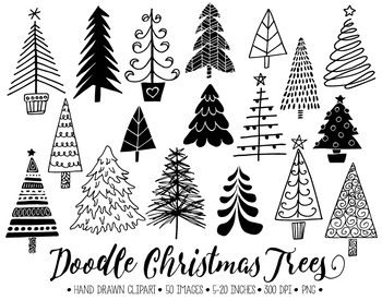 Christmas Tree Clipart. Hand Drawn Christmas Doodles. Winter Fir Tree Images.