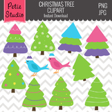 Christmas Tree Clipart // Winter Trees Clipart // Bird Cli