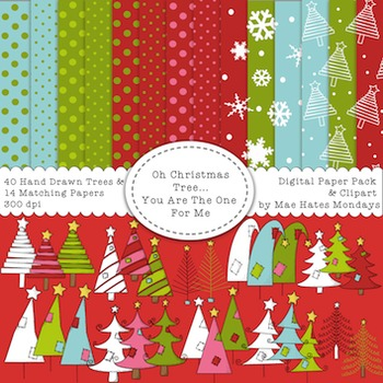 Christmas Clipart - Christmas Trees & Matching Digital Paper Backgrounds