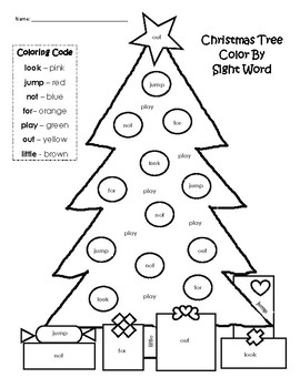 Christmas Tree Color By Sight Word By Rjb Teachers Pay Teachers