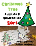 Christmas Tree Color, Cut, Sort, Paste! 4 digit addition and subtraction