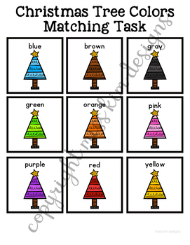 Christmas Tree Color Matching Folder Game for Early Childhood Special Education
