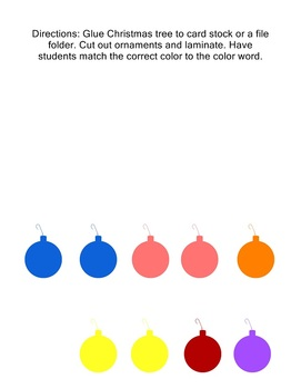 Christmas Tree Color Matching Game - Center Activity