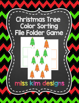 Christmas Tree Color Sorting Folder Game for students with Autism