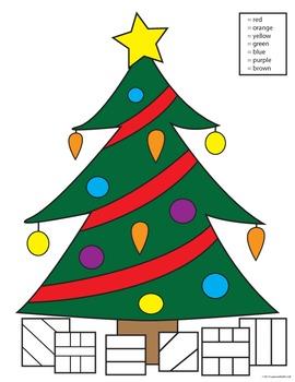 Christmas Tree Color by Number Worksheets - Pre-K, K, 1st ...