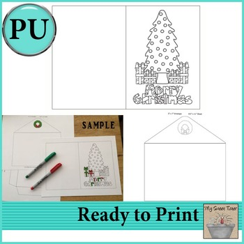 Christmas Tree Coloring Card 5x7 with envelope