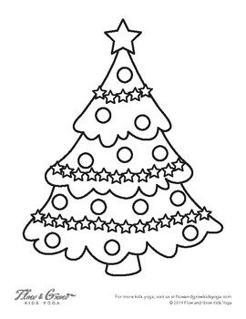 christmas tree coloring page by flow and grow kids yoga tpt christmas tree coloring page