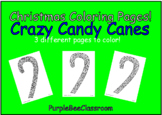 "Christmas Coloring Pages ""Crazy Candy Canes"" Set # 1"