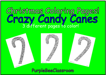"""Christmas Coloring Pages """"Crazy Candy Canes"""" Set # 1"""