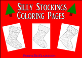 """Christmas Tree Coloring Pages """"Silly Stockings"""" Set #1"""
