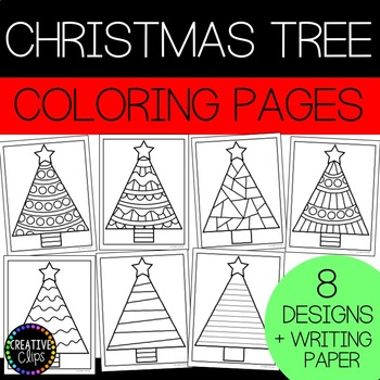 Christmas Tree Coloring Pages (and writing paper) {Made by Creative Clips}