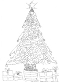 Christmas Tree Colouring Word Sheet