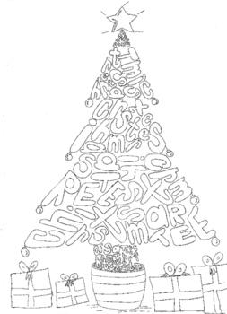 Christmas Tree Colouring Word Sheet