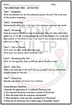 Christmas Tree Comprehension - Reading Strategy Worksheet