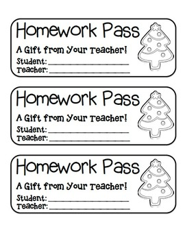 """Christmas Tree Cookie"" Homework Pass –Holiday FUN! (black line version)"
