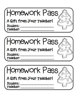 """Christmas Tree Cookie"" Homework Pass –Holiday FUN! (full color & black line)"