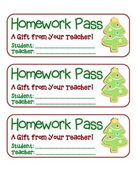 """""""Christmas Tree Cookie"""" Homework Pass –Holiday FUN! (full color version)"""