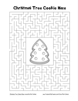 """Christmas Tree Cookie"" Maze! Holiday FUN! (Color and Black Line)"